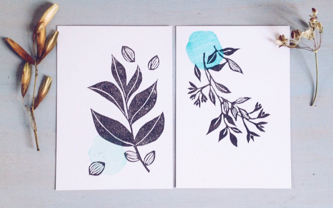 my hand printing process and new postcards