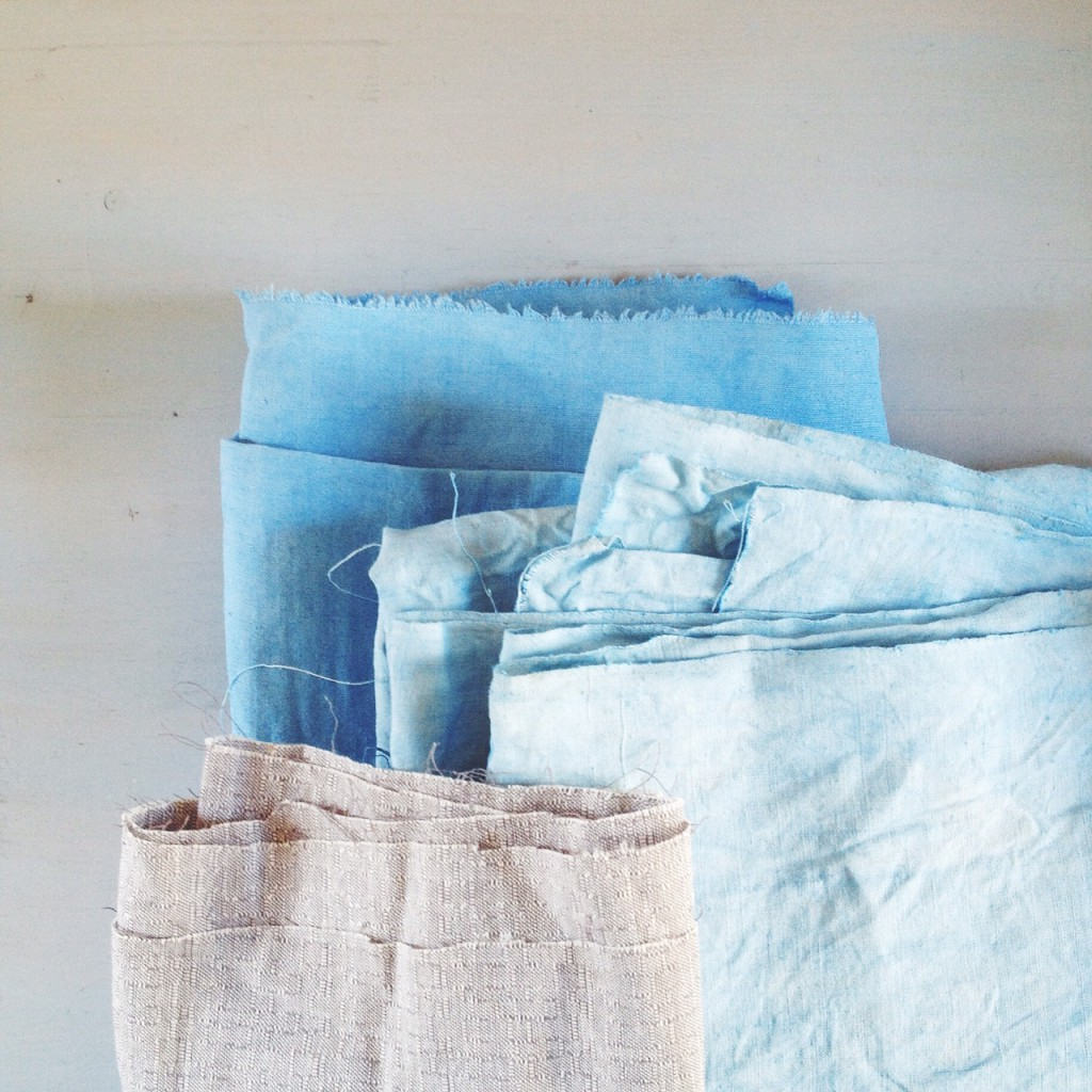two shades of indigo dyed vintage linen