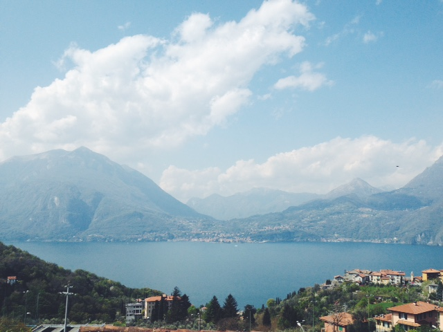 view from main square in Perledo, Lake Como