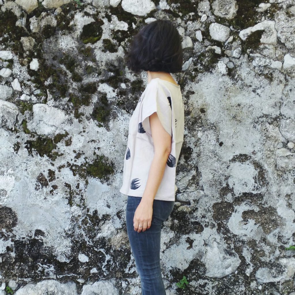 hand dyed hand printed linen top